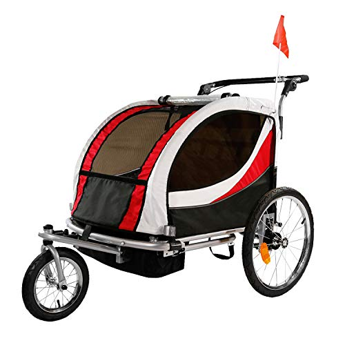 Clevr 3-in-1 Double 2 Seat Bicycle Bike Trailer Jogger Stroller for Kids Children | Foldable Collapsible w/Pivot Front Wheel, Red