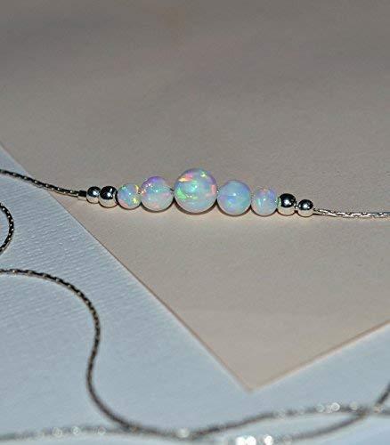 (OPAL NECKLACE // Tiny Opal Necklace Silver - White Opal Ball Necklace - Dot Necklace - Single Bead Necklace - Opal Bead Necklace)