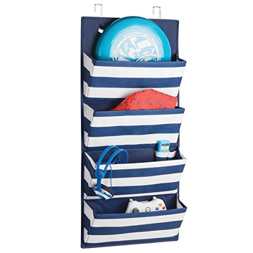 mDesign Fabric Over Door Hanging Storage Organizer – 4 Pocket, Navy/White by mDesign