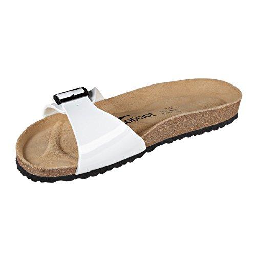 JOE N JOYCE Damen Porto Synsoft Soft Fußbett Sandalen White Patent Größe 42 EU Schmal bC6nVKuVxS
