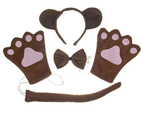 Bear 4pc Adult Costume Cosplay Headband Bowtie Tail Gloves]()