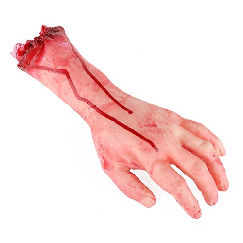 Halloween Party Horror Bloody Hands,Realistic Prosthetic Broken Hands Fake Severed Arm Broken Prank Trick Halloween Party Props
