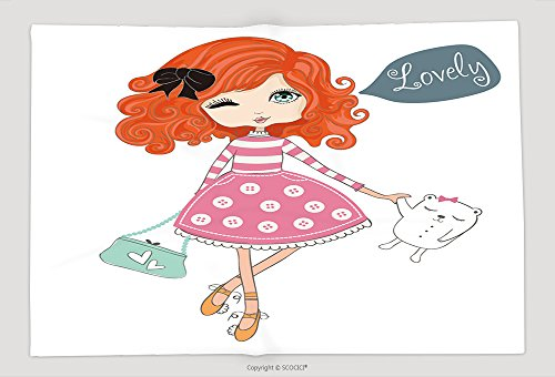 Supersoft Fleece Throw Blanket Shopping Girl Children Illustration For School Books And More Separate Objects Romantic Hand - Omaha Shopping