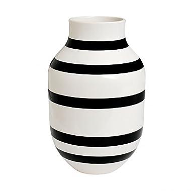 Kahler Omaggio Large Ceramic Vase - Handmade Faience (White / Black)