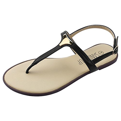 SANDALUP Women' s Triangle Metal Buckle Gladiator Thong Flat Sandals