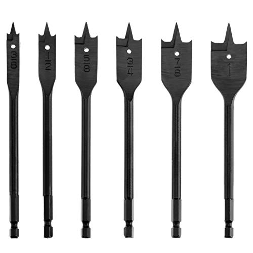 (Spade Drill Bit Set, SUNGATOR 3/8-Inch to 1-Inch High Speed Flat Wood Boring Bits, Quick-Change Hex Shank, 6-Piece)