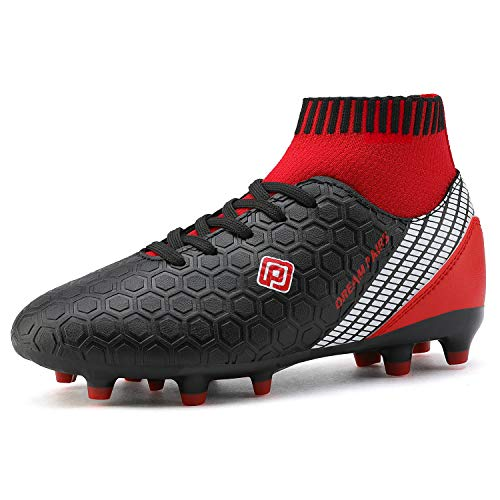 DREAM PAIRS Boys Girls HZ19007K Soccer Shoes Football Cleats Black Red Size 5 M US Big Kid (Shoes Kids Football)