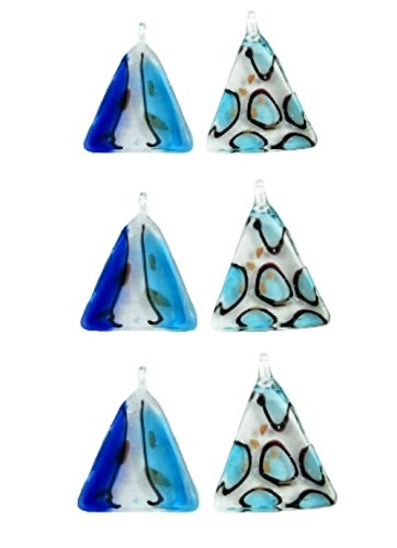 Wholesale Murano Style Glass Necklace Pendants ~ 6 Blue Triangles ~ 2 Styles