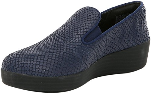 Fitflop Handel; Superskate ™ Orm-präglade Läder Loafers Midnatt Marinblå Storlek 11