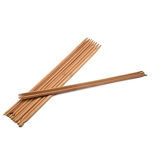 Combination Crochet Hook / Knitting Needles: Set of 14 - Each 14 Inches Extended Length Carbonized Bamboo (Sizes 3mm - 10mm / D-3 - N/P-15) by The Cottage Collection