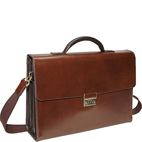 AmeriLeather Two-Tone Efficiency Laptop Briefcase (Brown) by Amerileather