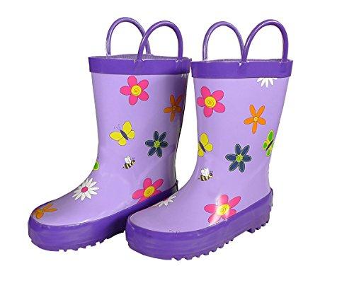 Foxfire for Kids Lavender Rubber Boots with Flowers Size 9 (Rain Flowers Purple)