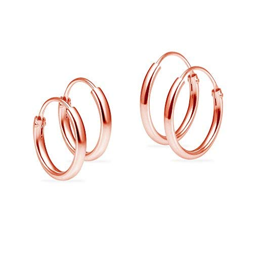 Set of 2 Pair Rose Gold Flashed Sterling Silver 10mm & 12mm Tiny Small Thin Round Endless Unisex Hoop Earrings for Cartilage, Nose or Lips