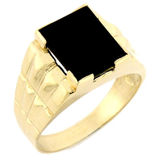 14k Solid Yellow Gold Rectangular Onyx Mens Ring