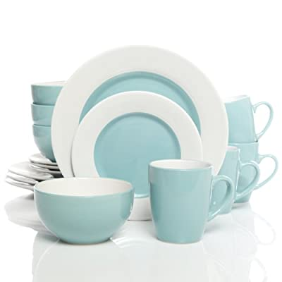 Gibson Home Style Deluxe 16-Piece Dinnerware Set, Blue