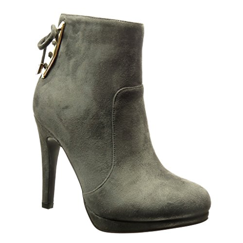 Angkorly - Chaussure Mode Bottine low boots sexy femme noeud métallique Talon haut aiguille 11 CM - Gris