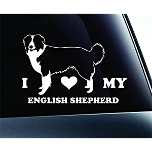 ExpressDecor I Love My English Shepherd Dog Symbol Decal Paw Print Dog Puppy Pet Family Breed Love Car Truck Sticker Window (White) 2