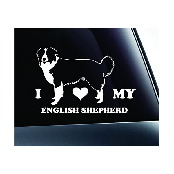 ExpressDecor I Love My English Shepherd Dog Symbol Decal Paw Print Dog Puppy Pet Family Breed Love Car Truck Sticker Window (White) 1