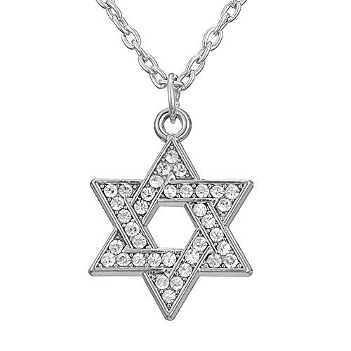 Star of David Necklace Crystal Religious Hexagram Pendant Necklace Jewish Jewelry