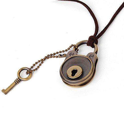 U2U Jewelry Alloy Vintage Retro Steampunk Openable Lock & Key Couple Lover Necklace Pendant - 2 (Lock Key Jewelry)