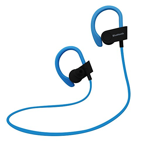 Bluetooth headphones earbuds with HD Microphone In-ear Sport Sweatproof Ear Hooks Earphone Wireless HIFI music Headset BT4.1 EDR Handsfree calling for iPhone, Samsung, Nexus, Motorola, Android (Blue)