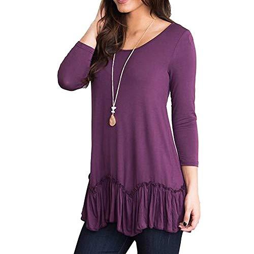 Dressffe Casual Womens Tops Plus Size Blouses for Women Fashion 2018 Shirts 3/4 Sleeve O-Neck Ruffled Pleated Hem T-Shirt (L, Purple)