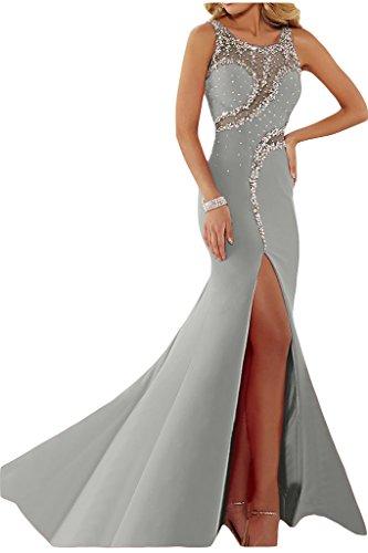 ivyd ressing Mujer luxurioes Ranura redondo Cuello piedras fiesta vestido fijo para vestido de noche plata