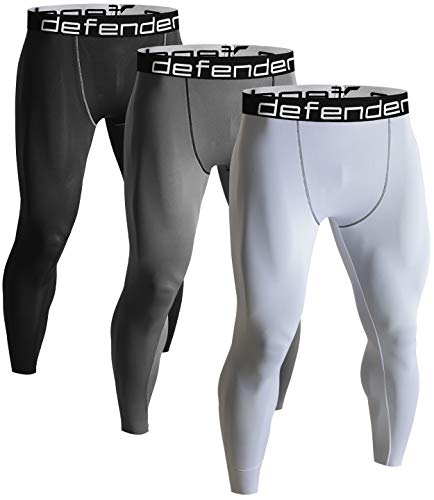 Defender Men's 3Pack Sports Compression Pants Under Jerseys Tights Shorts Fits Basketball BSGYWH_M