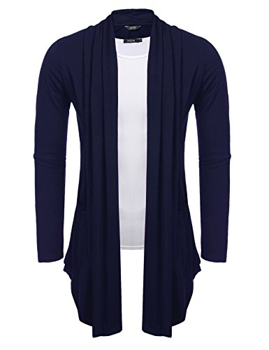 COOFANDY Men's Shawl Collar Cardigan Long Sleeve Cotton Over-Shirt,Navy Blue,Large