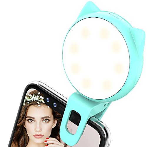 Selfie Ring Light- ALCLAP Clip on Phone Selfie Light [32 LED] for Camera [Rechargeable Battery] Selfie LED Camera Light for iPhone iPad Samsung Galaxy Photographs Cell Phones, Tablets, Laptops (Blue) by ALCLAP