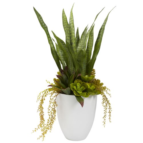 Nearly Natural 4960 30-Inch Green Mixed Succulent Plant with White Planter by Nearly Natural