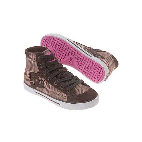 DC Women's Chelsea Mid Sneaker,D.Chocolate/Plaid,5 M