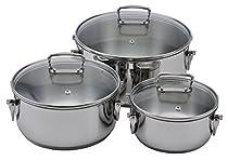 Lamart Stainless Steel Cookware Set Casseroles 16cm/1L, 20cm/2.5L, 24cm/ 4L Stainless Steel