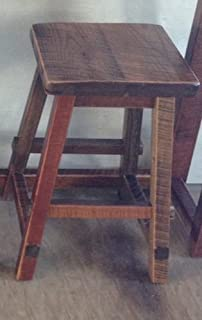 "product image for Rustic Natural Reclaimed Barn Wood Bar Stool ONLY- Counter Height (24"") Urban Distress Stain Amish Made in USA"