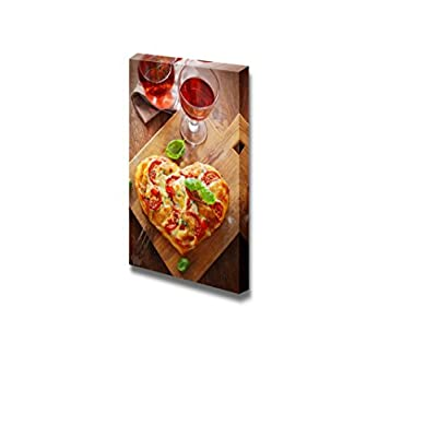 View of a Tasty Cheese and Tomato Vegetarian Heart Shaped Pizza Served on a Wooden Board with a Glass of Red Wine - Canvas Art Wall Art - 48