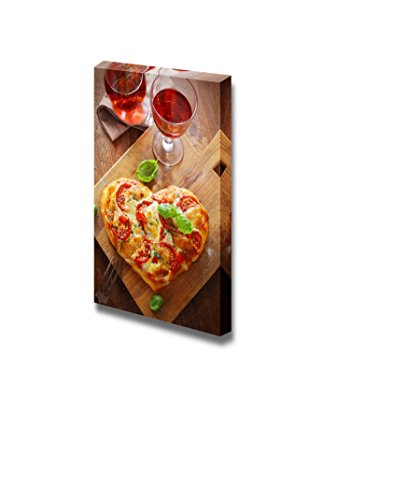 View of a Tasty Cheese and Tomato Vegetarian Heart Shaped Pizza Served on a Wooden Board with a Glass of Red Wine Wall Decor