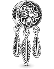 Annmors Jewelry Spiritual Dreamcatcher Charm 925 Sterling Silver for Woman Girl Beads Gifts for Women Bracelet&Necklace T422