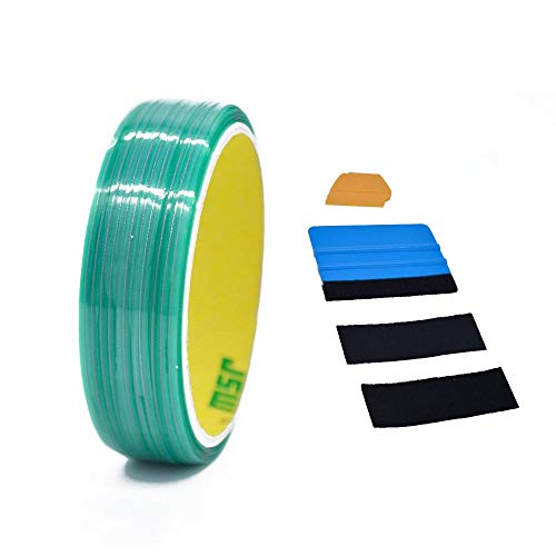 (Knifeless Tape Design Line Finish Line Vinyl Warp Cutting Tape - 50M/164 FT with Toolkit (Blue Applicator Squeegee, Yellow Detailed Squeegee Black Felt Edge Decals))