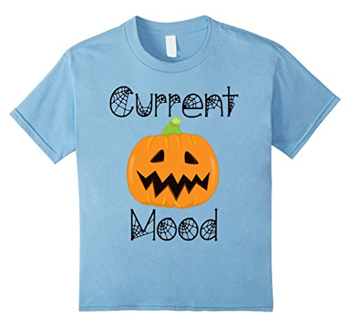 Kids Current Mood Pumpkin T-Shirt Fall Halloween Tee Women Men 12 Baby Blue