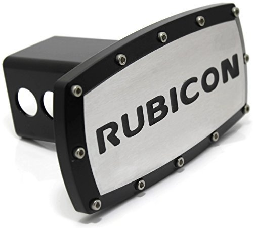 Jeep Rubicon 2'' Tow Hitch Cover Plug Engraved Billet Black Powder Coated by Elite Automotive Car Beyond Store