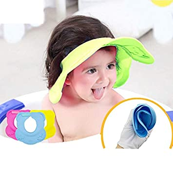 25054834e05 Adjustable Baby Shampoo Cap Stretchable Silicone Shower Cap Protective Hat  Bath Shower Cap Visor Hat Soft