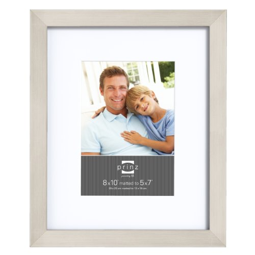 Prinz 8 by 10-Inch Matted to 5 by 7-Inch Gallery Expressions Frame, Nickel Finish