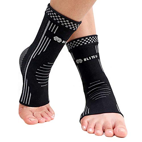 BLITZU #1 Ankle Brace Medical Grade Plantar Fasciitis Compression Sock, Best Foot Sleeve with Arch Support, Injury Recovery, Relieve Joint Pain Eases Swelling, Heel Spurs
