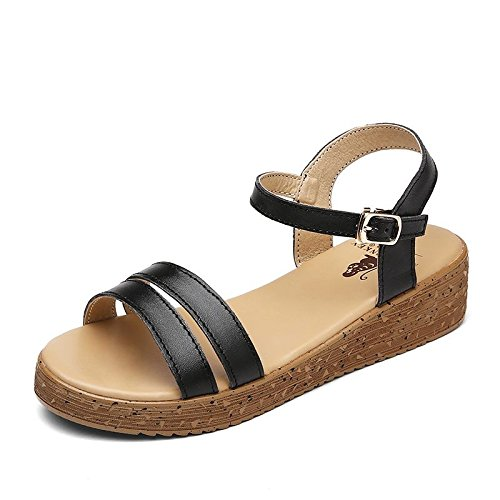 Xing Lin Ladies Sandals Slope With Sandals Women Summer High Heel Leather Casual Sandals Women Cool Slippers Students 871 black M7q0nnS