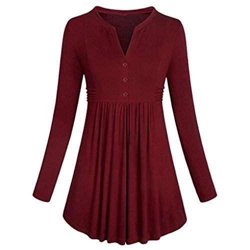 Lightning Deals V-Neck Tunic Top,ZYooh Women Long Sleeve Loose Mandarin Collar Shirt Pleated Button Flare Hem Tunic Tops (Red, L)