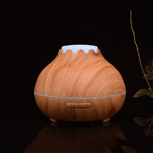 YCDC B 400ml Aroma Essential Oil Diffuser, Wood Grain, Air Humidifier, with 7 Color Changing LED Lights, for Office Home 400ml Aroma Essential Oil Diffuser Wood Grain Air Humidifier with LED Lights by YCDC (Image #1)