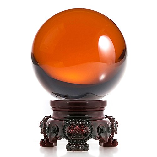 Amlong Crystal 3 inch (80mm) Amber Crystal Ball with Redwood Lion Resin Stand