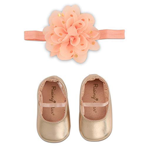 Gift Girl Baby Large (Rising Star Baby Girls Shoes and Headband Gift Box Set, Rose Gold Flower 0-6 Months)