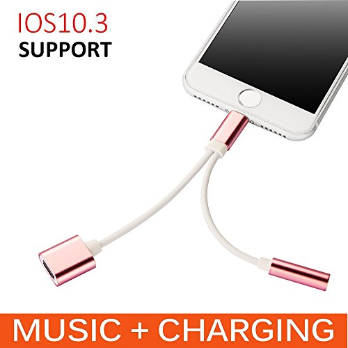 2 in 1 7 Adapter, Jackiey 2 in 1 Lightning to 3.5mm Headphon