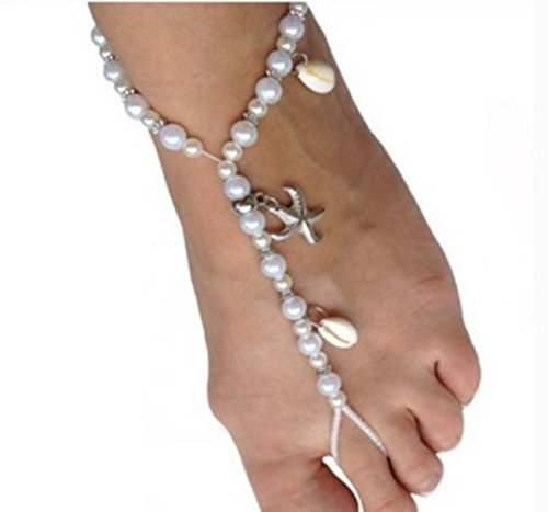 KMGT Barefoot Sandals White Pearl Anklet with Silver color Starfish and Real Seashells